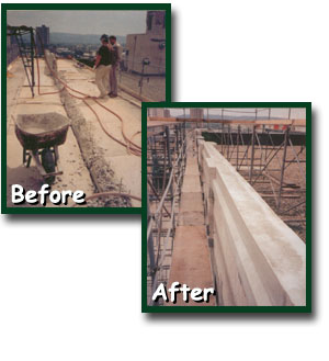 Concrete Restoration Parapet Before and After.
